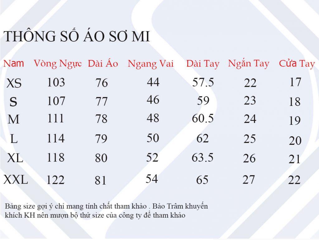 Thông số áo sơ mi nữ