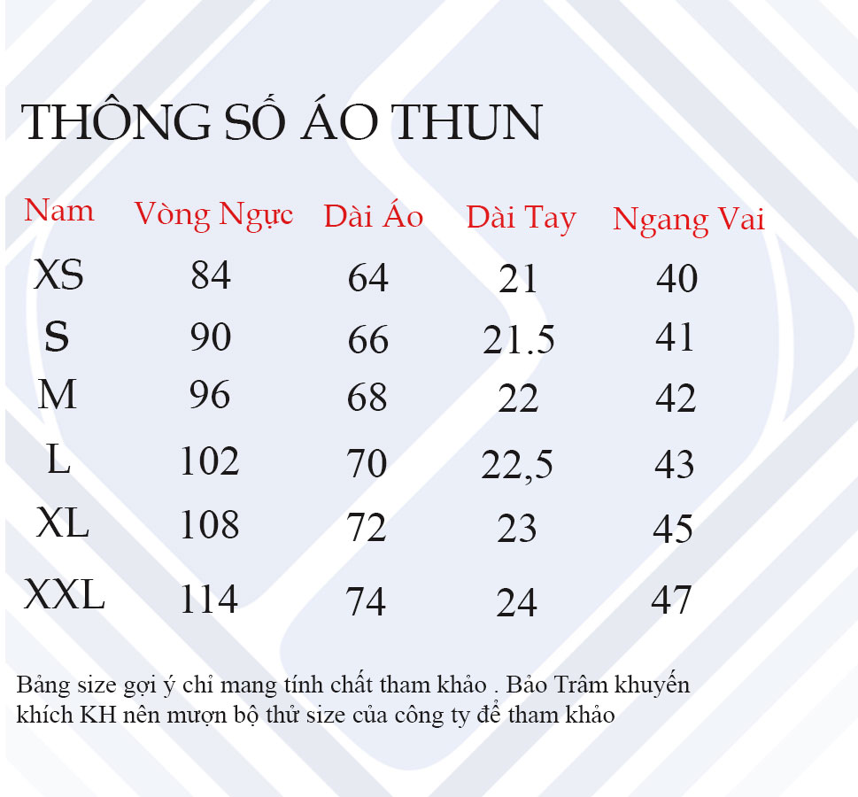 Thông số áo thun nam