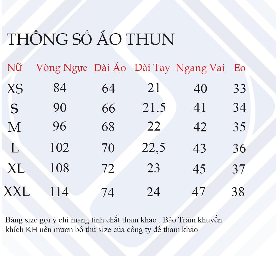 Thông số áo thun nữ